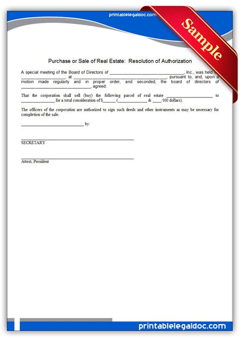 purchase authorization form template free printable purchase or sale of real estate corp