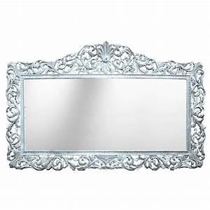 Miroir Baroque Noir : enorme console avec miroir style baroque en bois argent marbre noir ~ Teatrodelosmanantiales.com Idées de Décoration