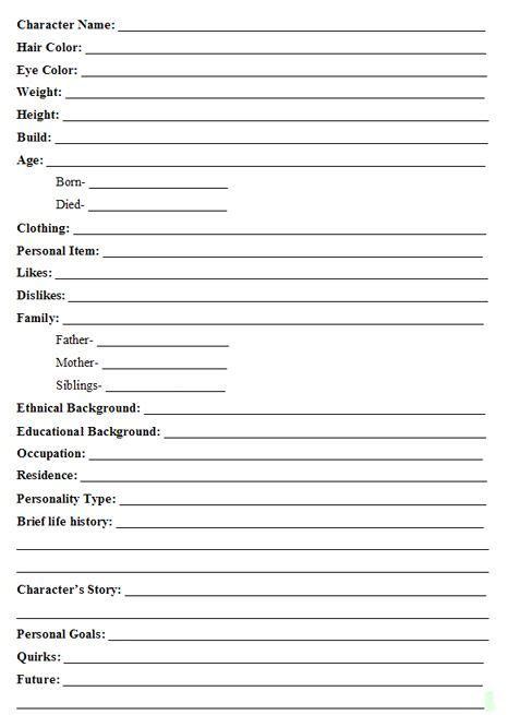 character profile template pdf a guide to creating interesting fictional characters writing ideas fictional