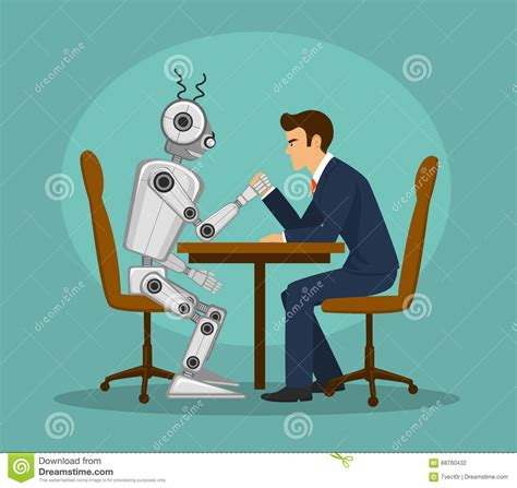 Funny Robot And Businessman Arm Wrestling, Fighting ...
