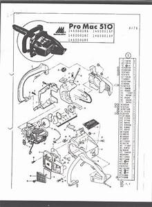 Chain Saw Parts List Mc Culloch   Pro Mac 510