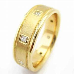 Mens yellow gold diamond wedding bands for Mens diamond wedding rings yellow gold