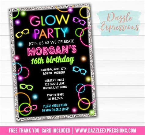 printable glow   dark birthday ticket invitation