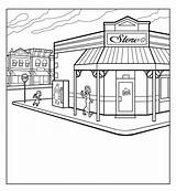 Corner Grocery Colouring Drawing Coloring Sketch sketch template