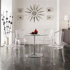 Homelegance Tron 5 Piece Led Dining Set With Clear Chairs