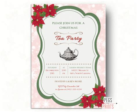 christmas tea party invitation printable holiday by