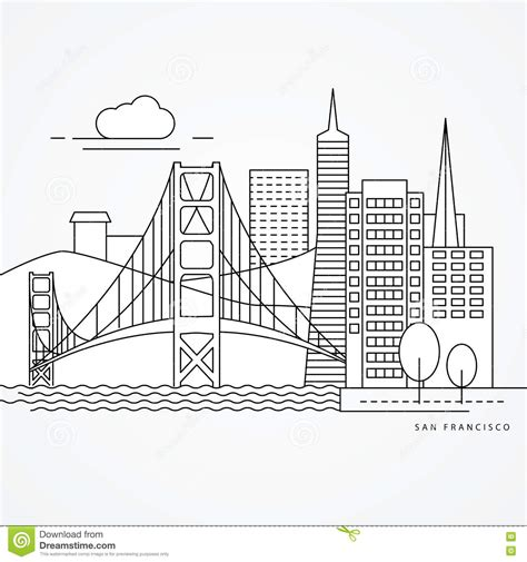 San Francisco Golden Gate Bridge Drawing Sketch Coloring Page
