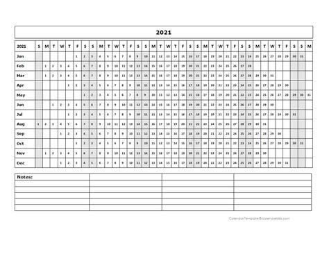 blank landscape yearly calendar template