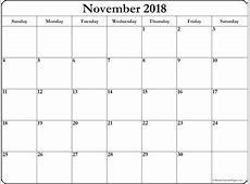 November 2018 blank calendar printable collection