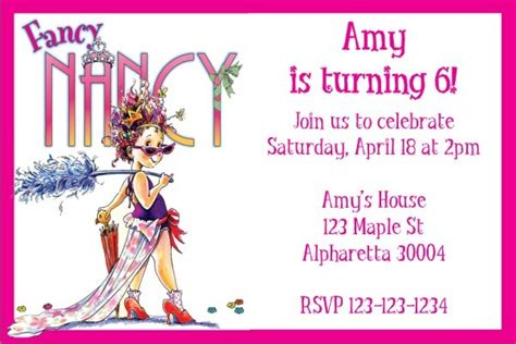 Fancy Nancy Party Invitation Personalized Party Invites
