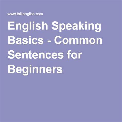english speaking basics common sentences  beginners