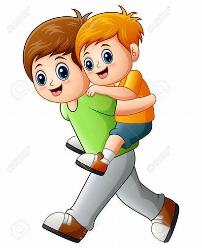 Brother Clipart Clip Younger Piggyback Ride Doing