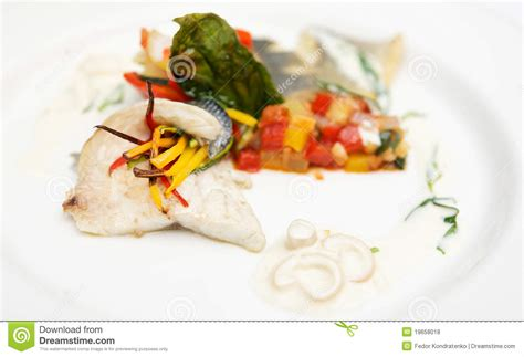 haute cuisine dishes seabass haute cuisine dish royalty free stock photos