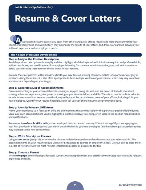 Guide To Resume Cover Letter by Internship Guide Resume Cover Letters