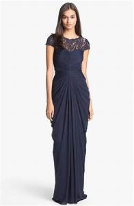 long navy bridesmaid dress with illusion necklice magic With long navy dress for wedding