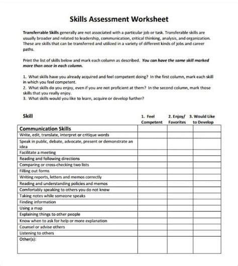 skills assessment template  word templates