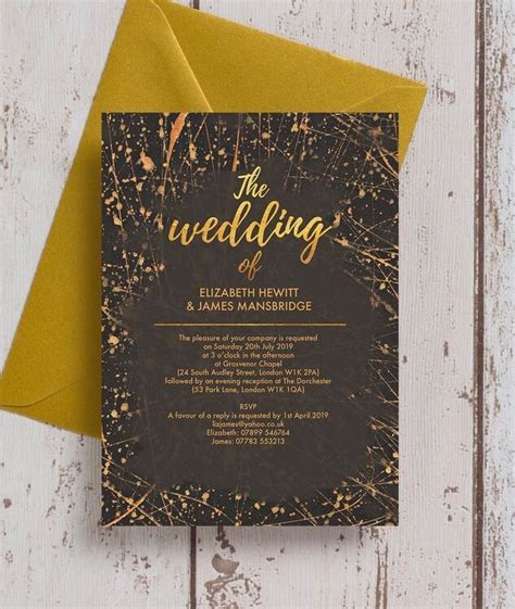 Black & Gold Abstract Wedding Invitation from £1 00 each
