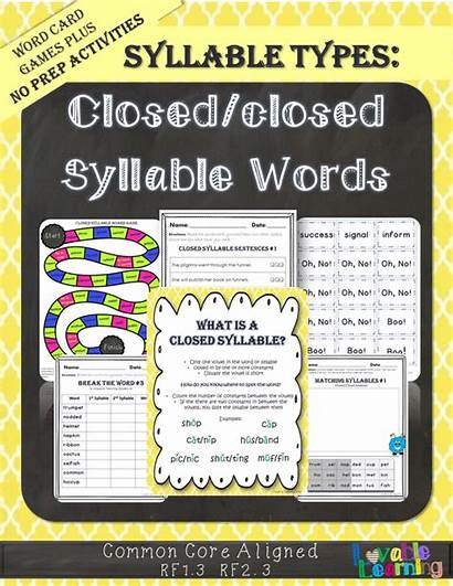 Syllable Closed Words Syllables Word Types Silent