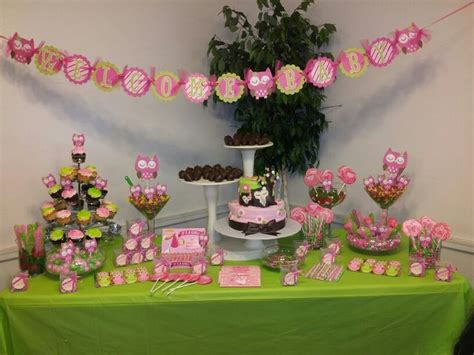 owl theme babyshower candy buffet table party ideas