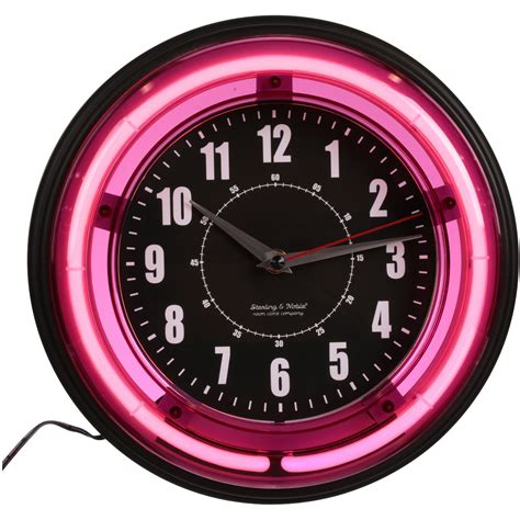 large 11 quot modern wall clock quartz with pink neon light