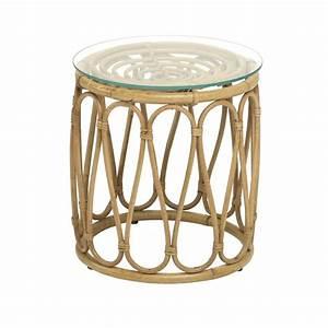 Table Basse Rotin : table basse en rotin naturel tambour avec plateau de verre ~ Teatrodelosmanantiales.com Idées de Décoration