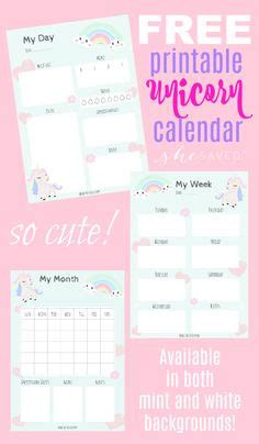 cute unicorn   calendar  printable