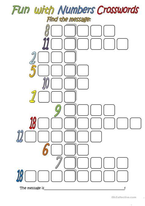 fun with numbers crossword worksheet free esl printable worksheets made by teachers