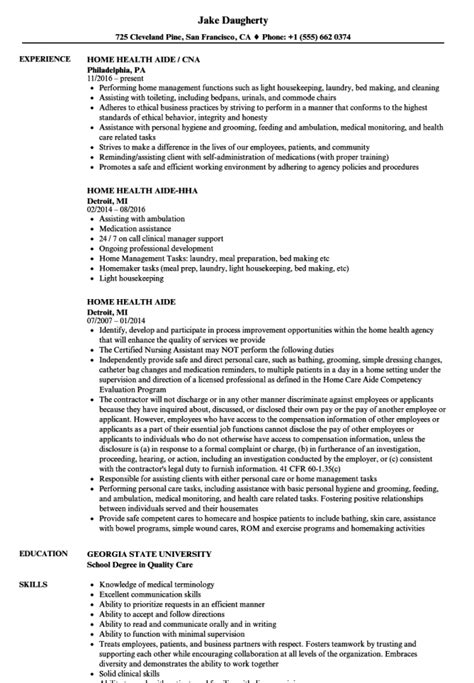 Hha Resume by Home Health Aide Resume Template Resume Sle