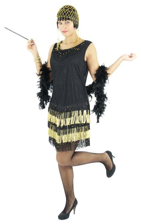 er jahre damen kleid charleston kostuem schwarz gold
