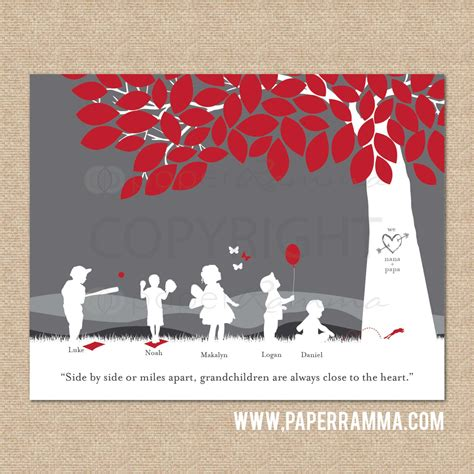 grandparent christmas gift personalized silhouette print