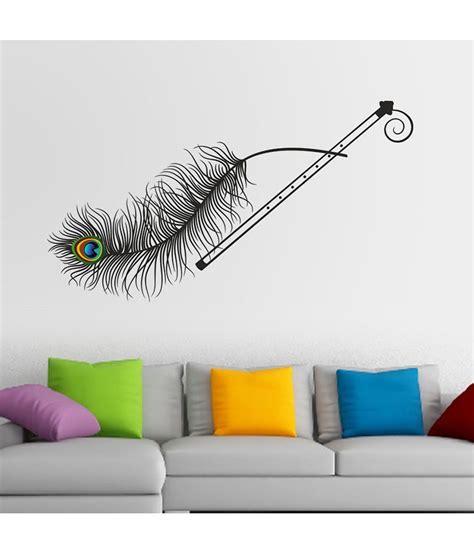 stickerskart krishna flute  peacock feather wall decor