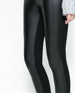 Zara Combined Faux Leather Leggings in Black | Lyst