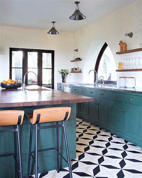black and white tiled kitchen 30 tile flooring ideas with pros and cons digsdigs 7860