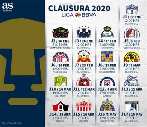 Así será el calendario de los Pumas para el Clausura 2020 ...
