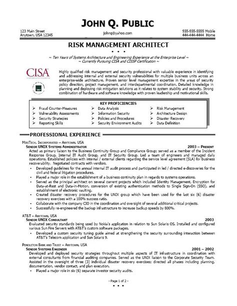 sle cover letter sle resume director of risk management