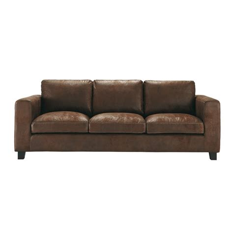 canape imitation cuir 3 seater imitation suede sofa bed in brown kennedy