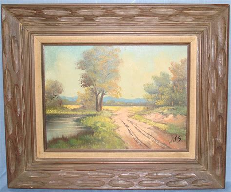 framed canvas sale on canvas framed painting country dirt road pond