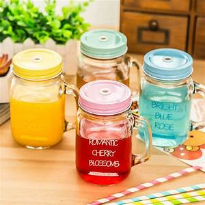Vintage Drinking Mason Jar With Handle Lid Straw Party ...