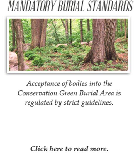 standards for burial in the conservation green burial area