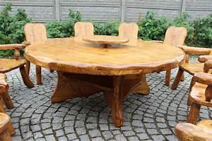Gartentisch Holz Massiv : sitzgruppe rustikal drehplatte tisch rund massiv holz gartentisch terassentisch ebay ~ Indierocktalk.com Haus und Dekorationen