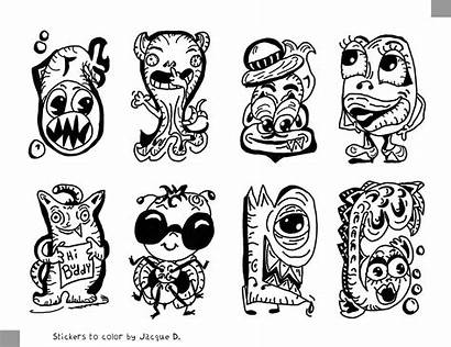 Stickers Monster Coloring Printable Huruf Tattoo Pro