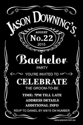 jack daniels bachelor party digital printable invitation