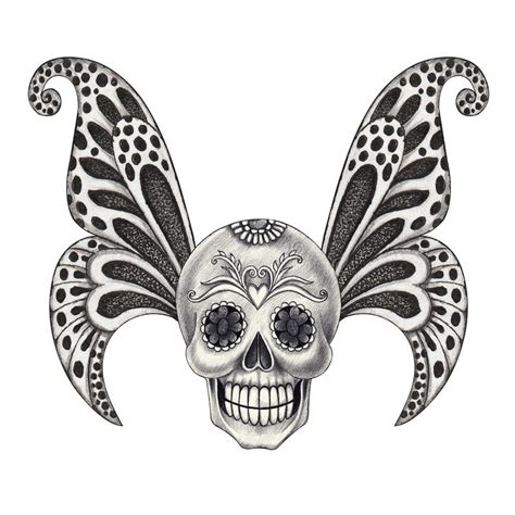 Art Skull Wings Tattoo Stock Illustration Image