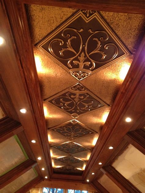 faux tin ceiling tiles living room traditional