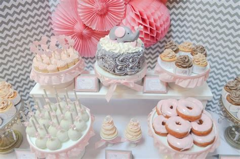 pink dessert table baby shower pink and grey elephant baby shower archives pretty my party