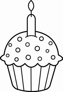 Birthday Cupcake Coloring Page - Free Clip Art