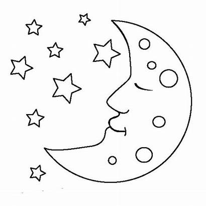 Moon Coloring Clipart Sleeping Pages Clip Preschool