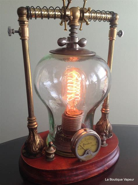 handmade    kind steampunk lamp   recycled