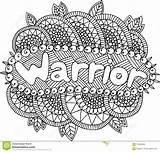 Warrior Coloring Adults Mandala Word Doodle Illustration sketch template