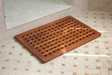 A Teak Bath Mat Is A Functional And Beautiful Choice For